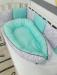 Цены на ByTwinz Набор в кроватку ByTwinz Babynest Дамаск Мята Удобный мягкий кокон для малыша,   где кроха будет чувствовать себя уютно и защищенно. Такое местечко позволит малышу спать крепче и глубже,   ведь уже доказано,   что маленькие детки любят имитацию нахожден