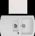 Цены на KUPPERSBERG KUPPERSBERG ALBA 1,  5B1D WHITE ALABAS. Высота 21 см Ширина 86 см Глубина 50 см Цвет Белый Количество чаш 2 Расположение чаши Оборачиваемая мойка Исполнение Врезная