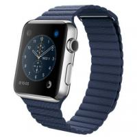 Apple Watch 42mm Stainless Steel Case with Bright Blue Leather Loop (MLFD2)